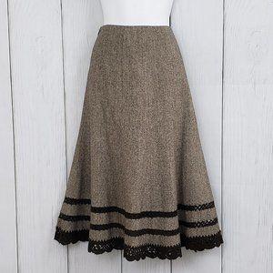 TALBOTS sz 8 Brown WOOL SILK Midi Skirt Crochet